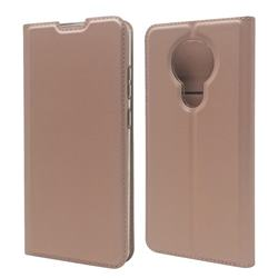 Ultra Slim Card Magnetic Automatic Suction Leather Wallet Case for Nokia 5.3 - Rose Gold