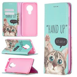 Hand Up Cat Slim Magnetic Attraction Wallet Flip Cover for Nokia 5.3