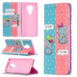 Elephant Boy and Girl Slim Magnetic Attraction Wallet Flip Cover for Nokia 5.3