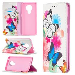 Flying Butterflies Slim Magnetic Attraction Wallet Flip Cover for Nokia 5.3