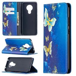 Gold Butterfly Slim Magnetic Attraction Wallet Flip Cover for Nokia 5.3