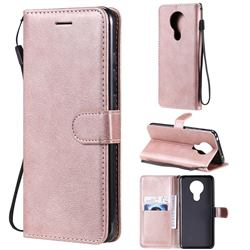 Retro Greek Classic Smooth PU Leather Wallet Phone Case for Nokia 5.3 - Rose Gold