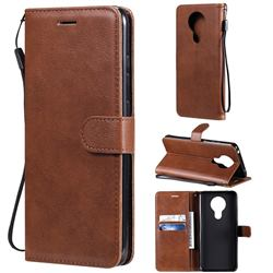 Retro Greek Classic Smooth PU Leather Wallet Phone Case for Nokia 5.3 - Brown