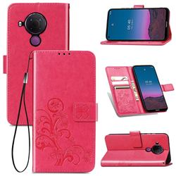 Embossing Imprint Four-Leaf Clover Leather Wallet Case for Nokia 5.4 - Rose Red