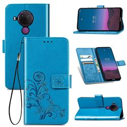 Embossing Imprint Four-Leaf Clover Leather Wallet Case for Nokia 5.4 - Blue