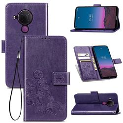 Embossing Imprint Four-Leaf Clover Leather Wallet Case for Nokia 5.4 - Purple
