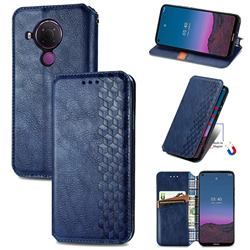 Ultra Slim Fashion Business Card Magnetic Automatic Suction Leather Flip Cover for Nokia 5.4 - Dark Blue