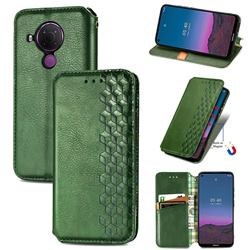 Ultra Slim Fashion Business Card Magnetic Automatic Suction Leather Flip Cover for Nokia 5.4 - Green