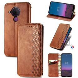 Ultra Slim Fashion Business Card Magnetic Automatic Suction Leather Flip Cover for Nokia 5.4 - Brown