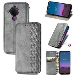 Ultra Slim Fashion Business Card Magnetic Automatic Suction Leather Flip Cover for Nokia 5.4 - Grey