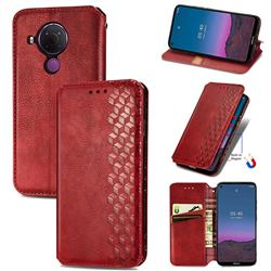 Ultra Slim Fashion Business Card Magnetic Automatic Suction Leather Flip Cover for Nokia 5.4 - Red