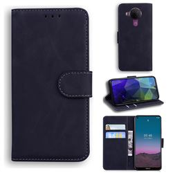 Retro Classic Skin Feel Leather Wallet Phone Case for Nokia 5.4 - Black
