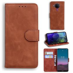 Retro Classic Skin Feel Leather Wallet Phone Case for Nokia 5.4 - Brown
