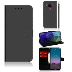 Shining Mirror Like Surface Leather Wallet Case for Nokia 5.4 - Black