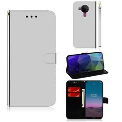 Shining Mirror Like Surface Leather Wallet Case for Nokia 5.4 - Silver