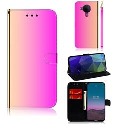 Shining Mirror Like Surface Leather Wallet Case for Nokia 5.4 - Rainbow Gradient