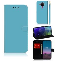Shining Mirror Like Surface Leather Wallet Case for Nokia 5.4 - Blue
