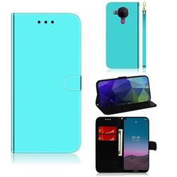 Shining Mirror Like Surface Leather Wallet Case for Nokia 5.4 - Mint Green