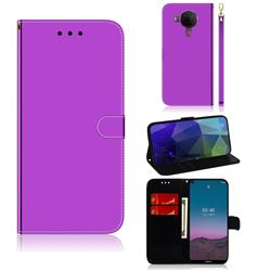Shining Mirror Like Surface Leather Wallet Case for Nokia 5.4 - Purple