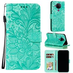 Intricate Embossing Lace Jasmine Flower Leather Wallet Case for Nokia 5.4 - Green