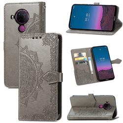 Embossing Imprint Mandala Flower Leather Wallet Case for Nokia 5.4 - Gray
