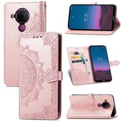 Embossing Imprint Mandala Flower Leather Wallet Case for Nokia 5.4 - Rose Gold