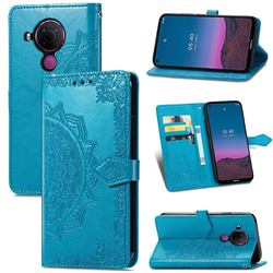 Embossing Imprint Mandala Flower Leather Wallet Case for Nokia 5.4 - Blue