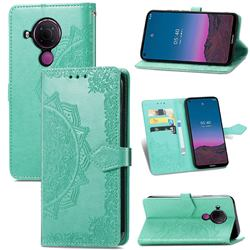 Embossing Imprint Mandala Flower Leather Wallet Case for Nokia 5.4 - Green