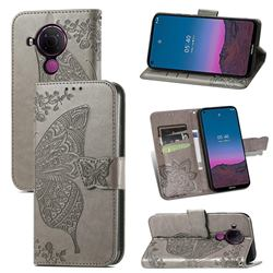 Embossing Mandala Flower Butterfly Leather Wallet Case for Nokia 5.4 - Gray
