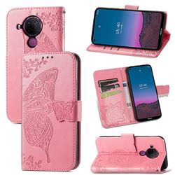 Embossing Mandala Flower Butterfly Leather Wallet Case for Nokia 5.4 - Pink