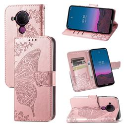Embossing Mandala Flower Butterfly Leather Wallet Case for Nokia 5.4 - Rose Gold