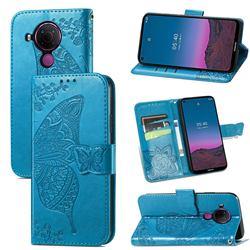 Embossing Mandala Flower Butterfly Leather Wallet Case for Nokia 5.4 - Blue