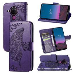 Embossing Mandala Flower Butterfly Leather Wallet Case for Nokia 5.4 - Dark Purple
