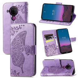 Embossing Mandala Flower Butterfly Leather Wallet Case for Nokia 5.4 - Light Purple
