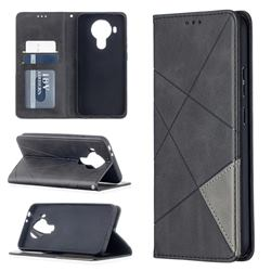 Prismatic Slim Magnetic Sucking Stitching Wallet Flip Cover for Nokia 5.4 - Black