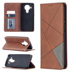 Prismatic Slim Magnetic Sucking Stitching Wallet Flip Cover for Nokia 5.4 - Brown
