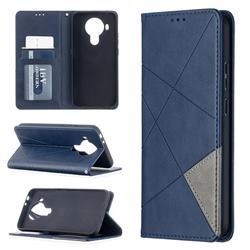 Prismatic Slim Magnetic Sucking Stitching Wallet Flip Cover for Nokia 5.4 - Blue
