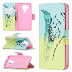 Feather Bird Leather Wallet Case for Nokia 5.4