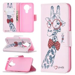 Glasses Giraffe Leather Wallet Case for Nokia 5.4