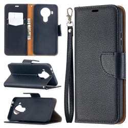 Classic Luxury Litchi Leather Phone Wallet Case for Nokia 5.4 - Black