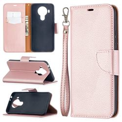 Classic Luxury Litchi Leather Phone Wallet Case for Nokia 5.4 - Golden