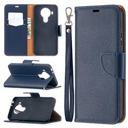Classic Luxury Litchi Leather Phone Wallet Case for Nokia 5.4 - Blue
