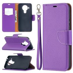 Classic Luxury Litchi Leather Phone Wallet Case for Nokia 5.4 - Purple