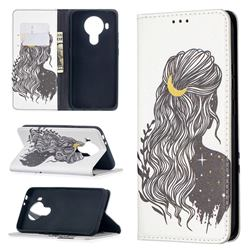 Girl with Long Hair Slim Magnetic Attraction Wallet Flip Cover for Nokia 5.4