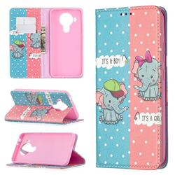 Elephant Boy and Girl Slim Magnetic Attraction Wallet Flip Cover for Nokia 5.4