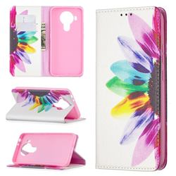 Sun Flower Slim Magnetic Attraction Wallet Flip Cover for Nokia 5.4