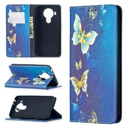 Gold Butterfly Slim Magnetic Attraction Wallet Flip Cover for Nokia 5.4
