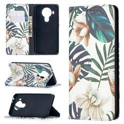 Flower Leaf Slim Magnetic Attraction Wallet Flip Cover for Nokia 5.4