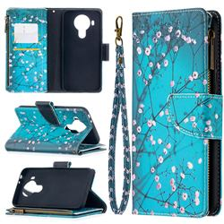 Blue Plum Binfen Color BF03 Retro Zipper Leather Wallet Phone Case for Nokia 5.4