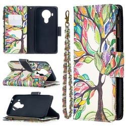 The Tree of Life Binfen Color BF03 Retro Zipper Leather Wallet Phone Case for Nokia 5.4